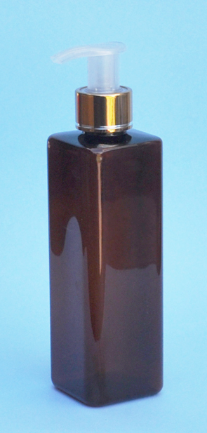 SNSET-THAPETSQ250MGNP-Square PET Bottle Amber Coloured 250ml with Metallic Gold/Natural 24/410 Pump