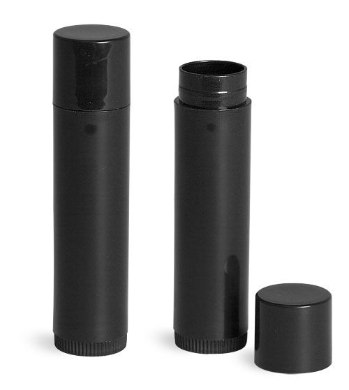 SNLIP0804-06-0.15Oz (4.4ml) Black Cylindrical Lip Balm Tube (67mm Height 16mm Dia) with Black Cap