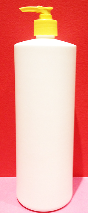 SNSET1000HDPERSQSWBP-1000ml White Tall Round Bottle with Square Shoulder with 28/410 Yellow Pump