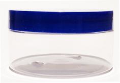SNJAR200CLFDBL-200g Clear PET Plastic Jar with 89/400 Flat Deep Blue Lid