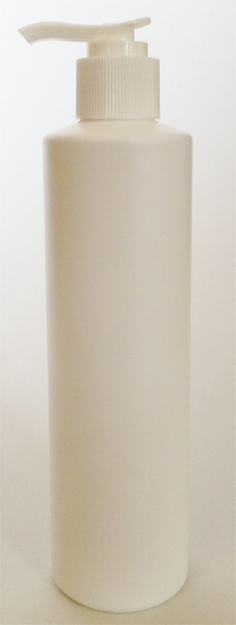SNSET-250WCSQHDPEWFRP-250ml White HDPE Cylindrical Bottle with Square Shoulder and 24/410 White Fine Ribbed Pump