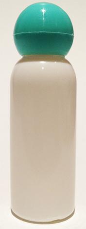SNSET-BPET30WLAQDL-30ml White PET Boston Bottle with Light Aqua Domed Lid