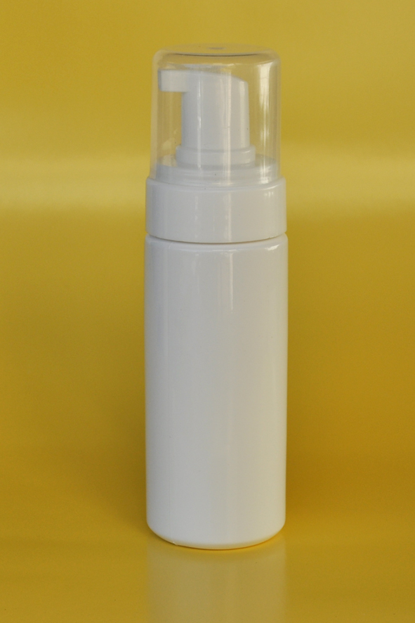 SNFBW150-White Foamer Bottle 150ml with White Pump and Clear Over Cap