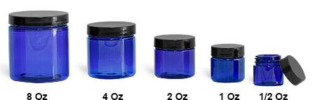SNJARCBBL-4oz -  4oz Plastic Jar Cobolt Blue PET Straight Sided Jar with Black Smooth Plastic  Cap
