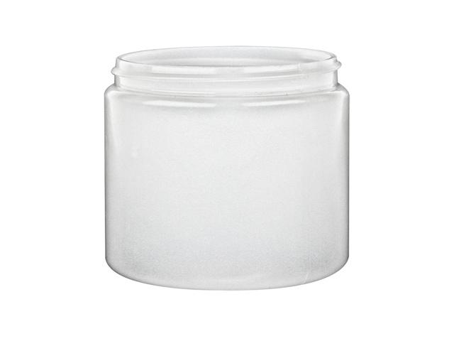 SNEJ-28339-TRANSLUSCENT WHITE PLASTIC JAR, 16 OZ (~473ml) PET SINGLE WALL ROUND WITH AN 89/400 FINISH, ROUND BASE