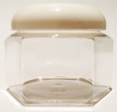 SNJ-24655DW-CLEAR PLASTIC JAR, 8 OZ PET HEXAGON WITH A FLAT BASE and Domed Smooth White 70/400 Lid