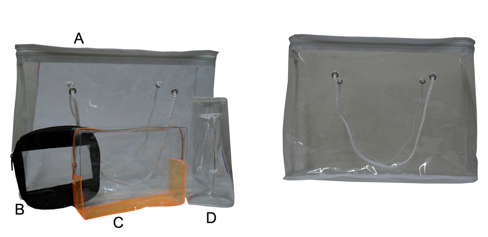 A-PB1015-Large Plastic Tote Bag Size 23x18x8cm Clear PVC 0.3mm Thickness with Carry Handles