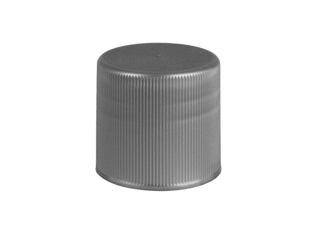SNDR-28563-SILVER PLASTIC CAP, FINE RIBBED CLOSURE WITH A 28/415 FINISH, STIPPLE TOP, VALVE SEAL