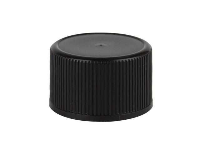 "SNDR-29602-BLACK PLASTIC CAP, FINE RIBBED CLOSURE WITH A 38MM FINISH, INCLUDES A .055"" F-422 FOAM LINER, SMOOTH TOP"