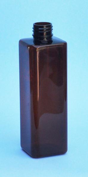 SNEP-THAPETSQ25024410-Square PET Bottle Amber Coloured 250ml 24/410 Neck