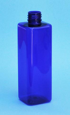 SNEP-THCBPETSQ25024410-Square PET Bottle Cobalt Blue Coloured 250ml 24/410 Neck