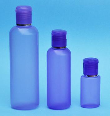 SNSET-THPHDPEB125PFTDL-125ml Translucent Purple HDPE Round Boston Bottle with 24/410 Purple Flip Top Dispensing Lid with Metallic Silver Rim