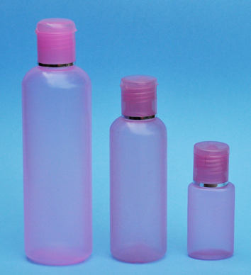 SNSET-THPIHDPEB125PFTDL-125ml Translucent Pink HDPE Round Boston Bottle with 24/410 Pink Flip Top Dispensing Lid with Metallic Silver Rim
