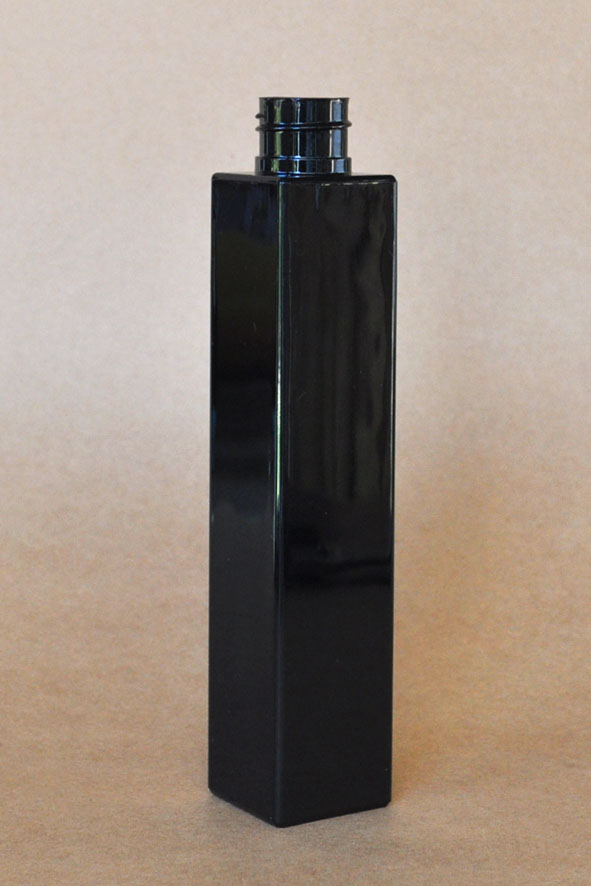 SNEP-THBSQPET25024410-Square PET Tall Black bottle with 24410 Neck Size
