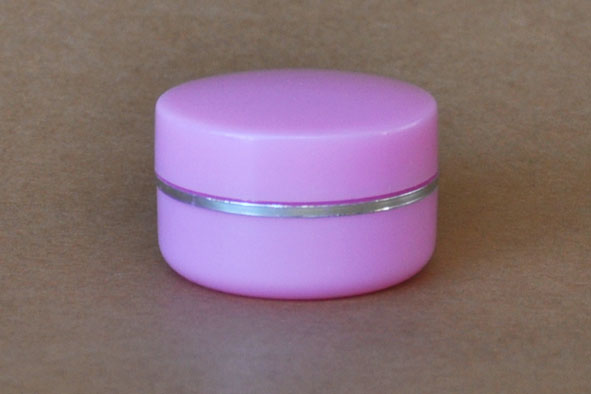SNCOSJ10P 10g Plastic Cosmetic Jar with Lid Pink with Silver Rim