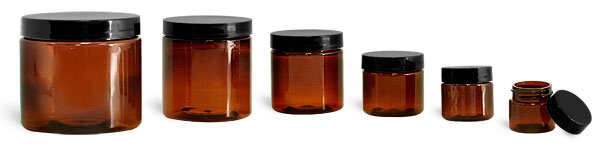 SNJARABL-0609-26-1/2 Oz (14.2g) Plastic Jar, Amber PET Straight Sided Jar (36mm H 35mm Dia) with 33/400 Black Smooth Plastic Lined Cap-1/2 Oz