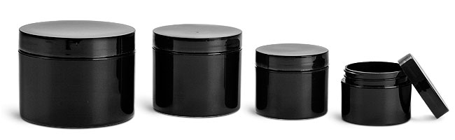 SNJARBBL-0663-06-1 Oz (28.4g) Plastic Jar, Black PET Straight Sided Jar with 53/400 Black Smooth Plastic Cap-1 Oz