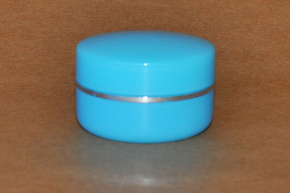 SNCOSJ10B-10g Plastic Cosmetic Jar with Lid-Blue with Silver Rim