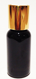 SNSET-1OZBBPETMGDTL-1 Oz (~29ml) Black Boston PET Bottle with 20/410 Metallic Gold Disc Top Lid