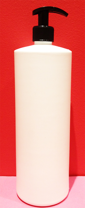 SNSET1000HDPERSQSWCBP-1000ml White Tall Round Bottle with Square Shoulder with 28/410 Curved Black Pump