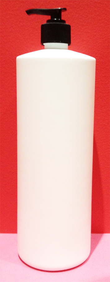 SNSET1000HDPERSQSWBP-1000ml White Tall Round Bottle with Square Shoulder with 28/410 Black Pump