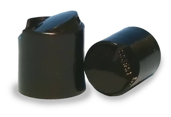 BLACK DISPENSING CAP, SMOOTH DISC-TOP CLOSURE WITH A 28/410 FINISH