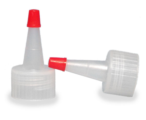 SNDD-2541-Natural LDPE Yorker Spout Cap with an attached red tip-for 24/410 neck sizes
