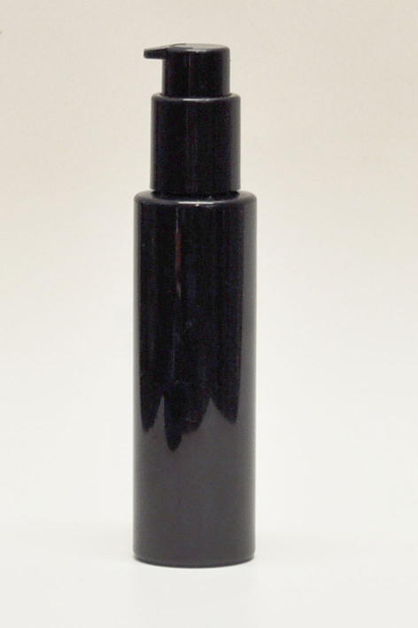 SNSET-4CYPETBBCP-4Oz (118ml) Black PET Cylindrical Bottle with Black Cosmetic Pump 24/410