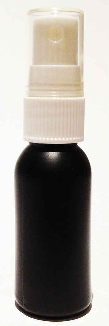 SNSET-4235-30ml Black HDPE Boston Bottle with 18/415 White Fine Mist Sprayer