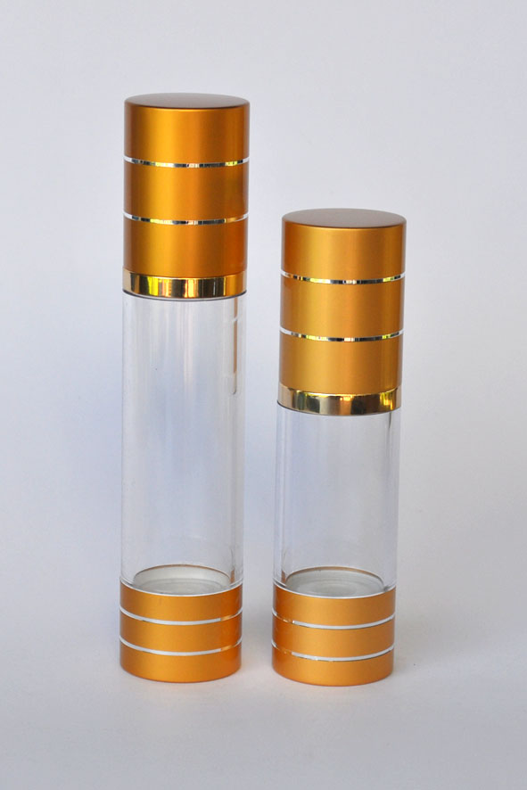 APBG30-Airless Pump Bottle-Round-Gold Cap and Base-30ml