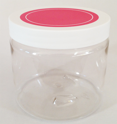 SNCPETJ450HPL89-450ml Clear PET Jar with 89/400 Hot Pink/White Smooth Lid with Liner
