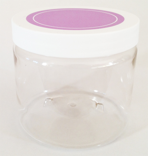 SNCPETJ450PL89-450ml Clear PET Jar with 89/400 Purple/White Smooth Lid with Liner