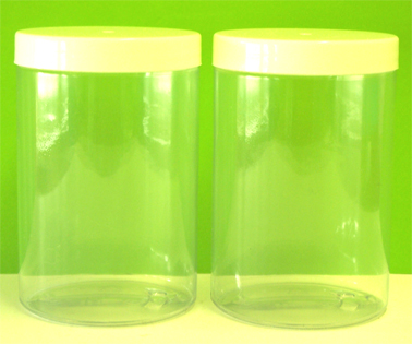 Plastic Jar Clear with White Plastic Lid