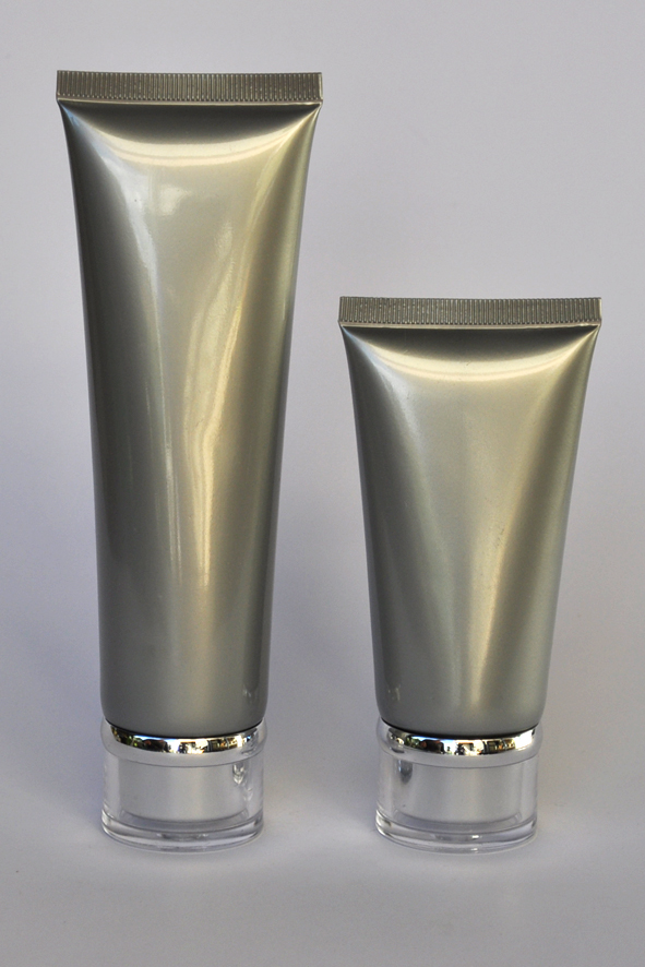 SNET-100STSC-Pre Sealed Plastic Tube Silver 100g + Silver Cap Ø35, Clear Overcap and Metallic Silver Rim