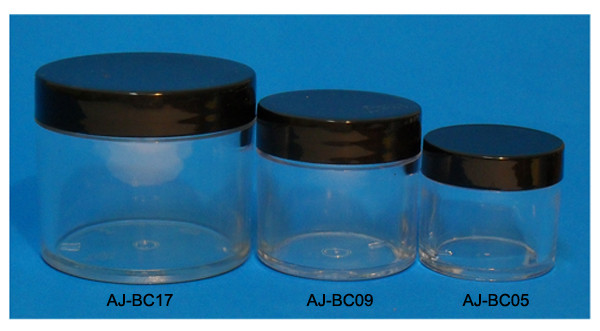 AJ-BC05-Clear Round Plastic Jar with Black Plastic Cap-0.5Oz (~14ml)