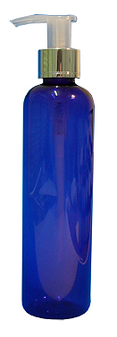 SNSET-B250CBMSNP-Plastic Bottle-Boston-Cobalt Blue-250ml with Metallic Silver/Natural Pump (with shiny silver base)
