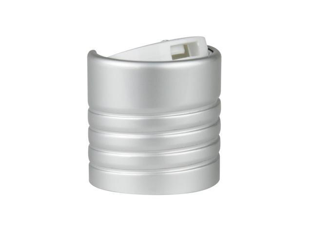"SNDD-30835-BRUSHED ALUMINIUM/WHITE DISPENSING CAP, METAL SHELLED DISC-TOP CLOSURE WITH A 24/410 FINISH AND A .302"" ORIFICE, EXPOSED THREADS"