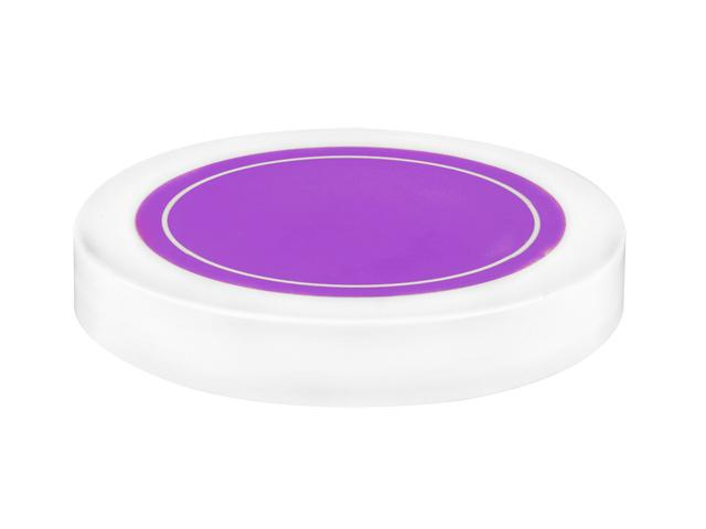 "SNDR-30999-WHITE/PURPLE PLASTIC JAR LID, SMOOTH CLOSURE WITH AN 89/400 FINISH, INCLUDES A ""PLAIN"" HEAT SEAL/ PULP LINER, MATTE FINISH, SHINY PINK CIRCLE ON TOP"