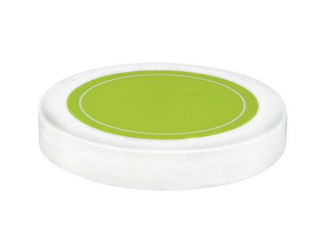 "SNDR-31004-WHITE/GREEN PLASTIC JAR LID, SMOOTH CLOSURE WITH AN 89/400 FINISH, INCLUDES A ""PLAIN"" HEAT SEAL/ PULP LINER, MATTE FINISH, SHINY PINK CIRCLE ON TOP"