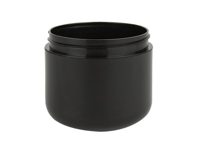 SNEJ-28205-Plastic Jar-4 Oz Black- PP DOUBLE WALL ROUND WITH A 70/400 FINISH, ROUND BASE