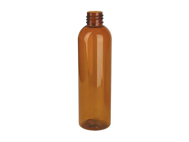 SNEP-24000-AMBER PLASTIC BOTTLE, 8 OZ PET BULLET WITH A 24/410 FINISH