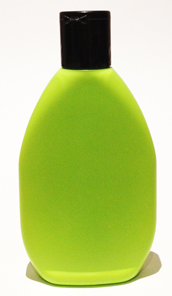 SNSET-21169-LEAF GREEN PLASTIC BOTTLE 9 OZ. HDPE TAPERED OVAL WITH A 28/415 Black Flip Top Dispensing Lid