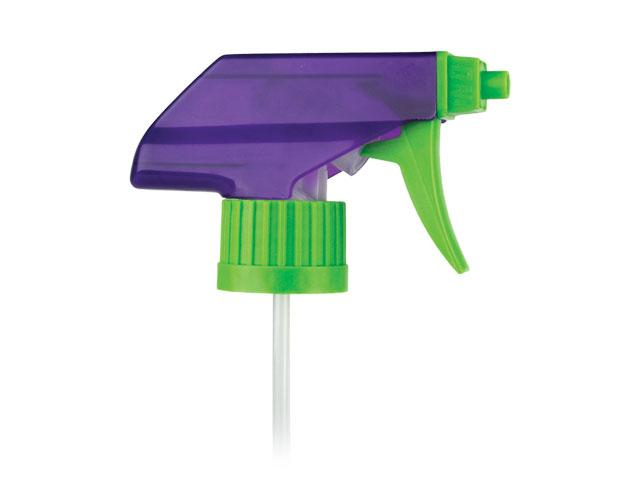 "SNHT-22879-PURPLE/GREEN TRIGGER SPRAYER, 28/400 RATCHET FINISH, TS-800-3E FOAM/OFF WITH A 7 1/2"" DIP TUBE, BENT DIP TUBE, TRANSLUCENT SHROUD"