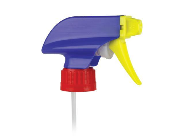 "SNHT-24014-Cobalt Blue/Yellow/Red TRIGGER SPRAYER, 28/400 RATCHET FINISH, MIXOR HP SPRAY/STREAM/OFF WITH A 6 9/16"" DIP TUBE, AND CHILD RESISTANT NOZZLE"