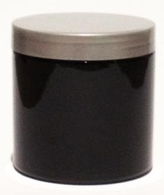 SNJPET500BS-500ml Black PET Plastic Jar with 89/400 Silver Lid
