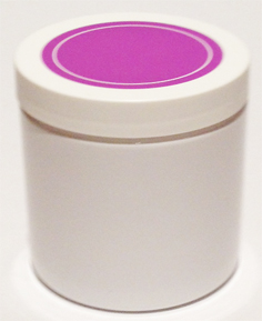 SNJPET500WWPU-500ml White PET Plastic Jar with 89/400 White/Purple Lid