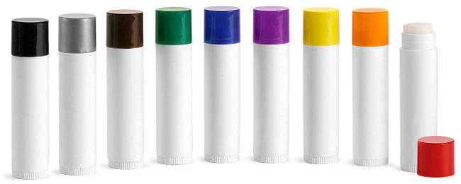 SNLIPWB0805-24-0.15Oz (4.4ml) White Cylindrical Lip Balm Tube (67mm Height 16mm Dia) with Black Cap