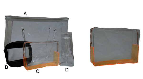 C-PC1001-See Through Rectangular Orange/Clear Gift Bag with Nylon Zipper Size 20x15x6cm  Clear PVC 0.3mm thickness