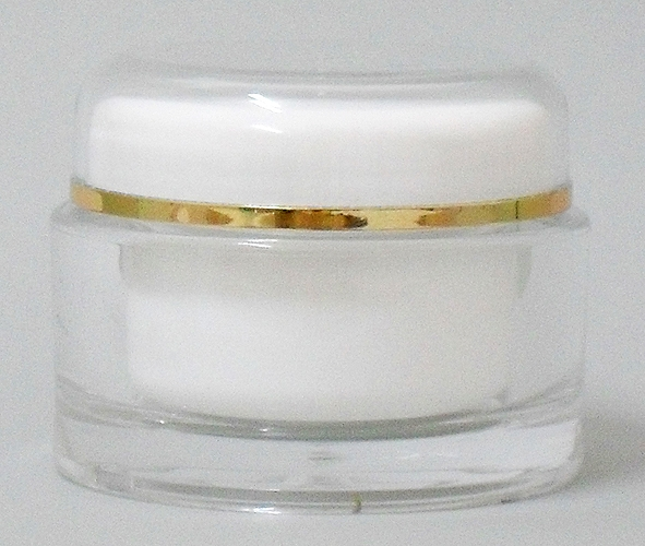 SNSET-2080-60ml ACRYLIC JAR with Lid, WHITE INNER CAP/BOWL, Gold RIM 56mm Finish