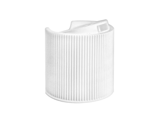 SNDD-16021-WHITE DISPENSING CAP, FINE RIBBED DISC-TOP CLOSURE WITH A 28/410 FINISH AND A .343 ORIFICE